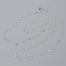 Łańcuszek gotowy pancerka z blaszką kolor srebrny 40cm