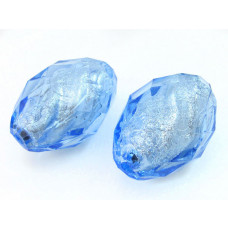 Oliwka akrylowa fasetowana niebieska 40x27mm