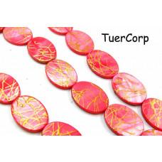 Masa perłowa owal malowany różowy 25x18mm
