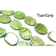 Masa perłowa owal malowany zielony 30x22mm