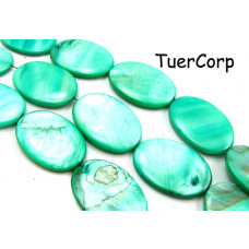 Masa perłowa owal jasna zieleń 30mm