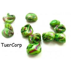 Masa perłowa bryłki malowane zielone 18mm