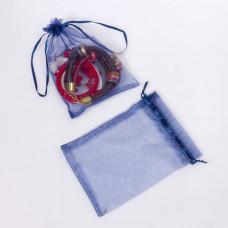 Woreczek z organzy do biżuterii 13x18cm niebieski
