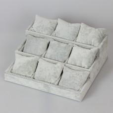 Ekspozytor schodkowy z poduszkami 9 komór 12x27x25cm