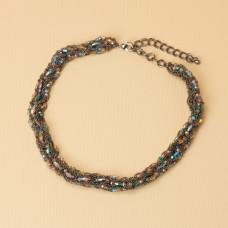 Kolia z drobnych łańcuszków z kryształkami 50cm