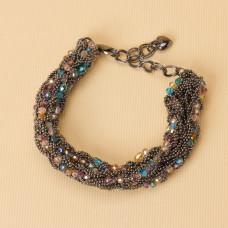 Bransoletka z drobnych łańcuszków z kryształkami 20-25cm
