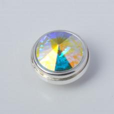 Srebrna wpinka Kaleidoskop Swarovski crystal AB 10mm