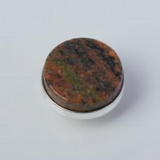 Srebrna wpinka Kaleidoskop granit czerwony 10mm