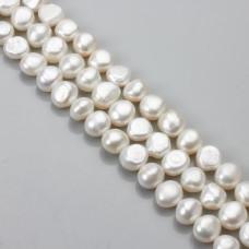 Perły naturalne button 10-11mm białe