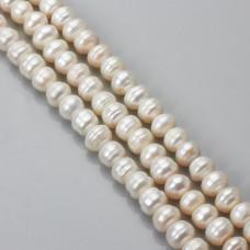 Perły naturalne button 7-9mm białe