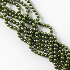 Perły seashell kulki metaliczna zieleń 6mm