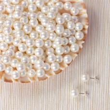 Perła seashell kulki do kolczyków białe 6mm