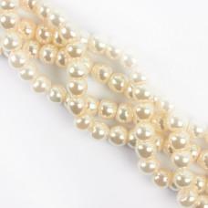Perły seashell kulka biała spłaszczona 10mm