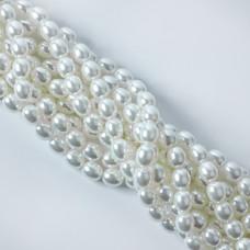 Perły seashell oliwka 9x11mm biała
