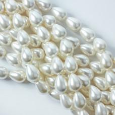 Perły seashell łezka 14x20mm biała