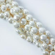 Perły seashell button 14x10mm białe