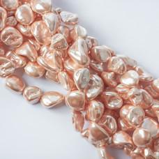 Perły seashell nugget 17x15mm beżowe