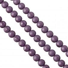 Perły szklane drapane fioletowe 12 mm