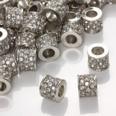 Przekładka walec z kryształkami crystal 10x12mm
