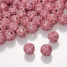 Kulka shamballa z kryształkami rose  10mm