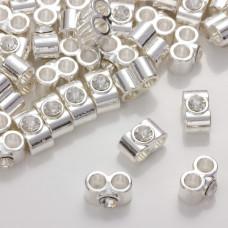 Przekładka z kryształkiem koloru srebrnego crystal 14mm