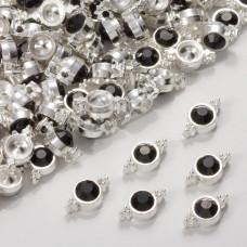 Przekładka z kryształkiem koloru srebrnego jet  10mm