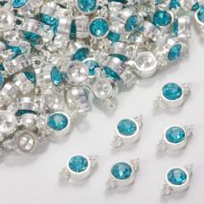 Przekładka z kryształkiem koloru srebrnego aquamarine  10mm