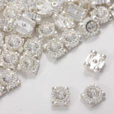Przekładka z kryształkiem koloru srebrnego crystal  9mm