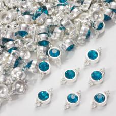 Przekładka z kryształkiem koloru srebrnego capri blue  10mm