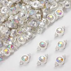 Przekładka z kryształkiem koloru srebrnego crystal AB  10mm