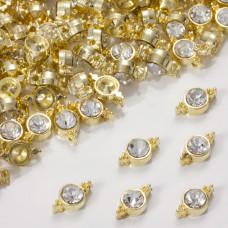 Przekładka z kryształkiem koloru złotego crystal  10mm