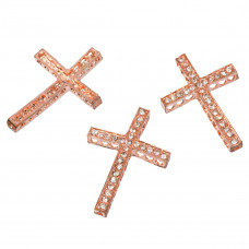 Krzyż z kryształkami 36x25mm rose gold