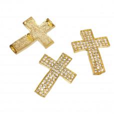 Krzyż w kolorze złota z kryształkami 33x24mm