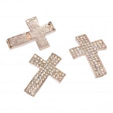 Krzyż z kryształkami 33x24mm rose gold