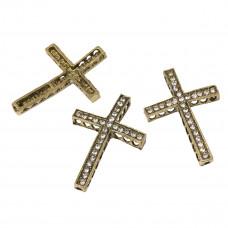 Krzyż w kolorze antycznego złota z kryształkami 36x25mm