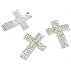 Krzyż z kryształkami 33x24mm srebrny
