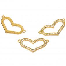 Serce w kolorze złota z kryształkami 37x19mm