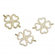 Przekładka z kryształkami koniczyka ażurowa koloru złotego 20x27mm