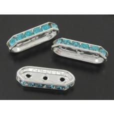 Przekładka z kryształkami aquamarine 3 dziurki