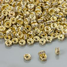 Przekładki rondelki z kryształkami crystal real gold color 6mm