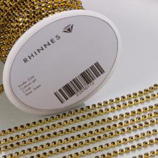 Taśma z kryształkami kolor złoty jet 2mm