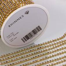 Taśma z kryształkami kolor złoty hematite 2mm