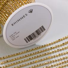 Taśma z kryształkami kolor złoty aurum 2mm