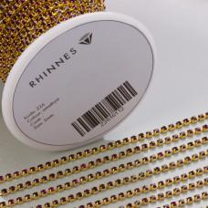 Taśma z kryształkami kolor złoty amethyst 2mm