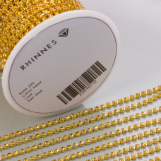 Taśma z kryształkami kolor złoty topaz 2mm