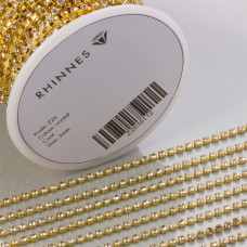 Taśma z kryształkami kolor złoty crystal 2mm
