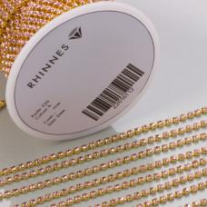 Taśma z kryształkami kolor złoty lt. rose 2mm