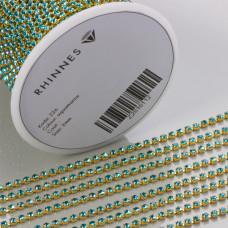 Taśma z kryształkami kolor złoty aquamarine 2mm