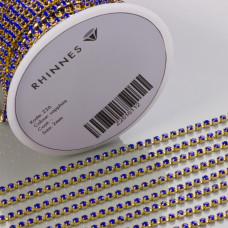 Taśma z kryształkami kolor złoty sapphire 2mm