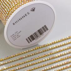 Taśma z kryształkami kolor złoty crystal AB 2mm